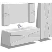 Комплект навесной в ванную комнату MARANELLO белый 90см(тумба+зеркало+пенал)