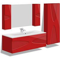 Комплект навесной в ванную комнату MARANELLO красный 90см(тумба+зеркало+пенал)
