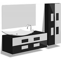 Комплект навесной в ванную комнату черный Токио 90см(тумба+зеркало+пенал)
