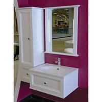 Комплект навесной в ванную комнату Аризона белый 80см(тумба+зеркало+пенал)