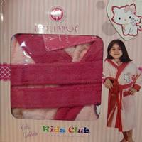 Детский халат для девочки Philippus светло-розовый с кошечкой 2 9-10 лет.