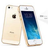 Ультра тонкий TPU чехол HOCO Light Series для Apple iPhone 5 / 5s - 0.6 мм - прозрачный, чёрный. Золото
