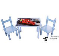"""Столик и стулья детские набор """"Тачки"""" голубой"""