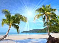 Панно Море  Солнце Пляж Пальмы печать на кафеле