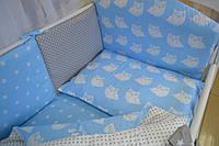 """Детская постель в кроватку серо-голубого цвета """"Совы"""" без балдахина"""