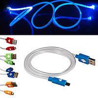 USB дата кабель для Iphone 5 5C 5S 6, светящийся