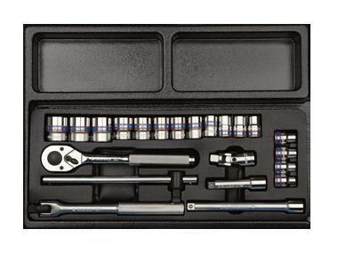 Набор инструмента 3/8' (головки,трещетка,вороток,удл.) KINGTONY 9-3523MR