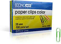 Economix Скрепки округлі 28 мм / 100 шт цветные (E41003)