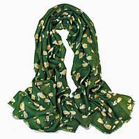 Зеленый шарф с лебедями
