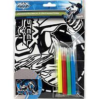 "KITE Раскраска с бархатом В6 ""Max Steel"" 4 Фломастера арт.MX14-157K"