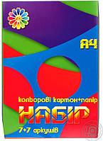 Набор цв картона и цв бумаги А4, 7+7, Тетрада