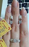 Серебряный гарнитур украшений серьги и кольцо