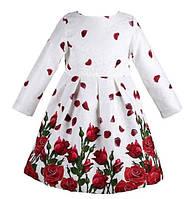 Детское белое платье в розы