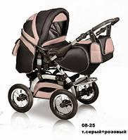Коляска универсальная детская коляска трансформер 2 в 1 Prado серый розовый