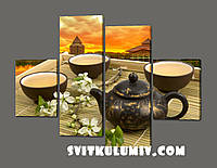 Модульная картина на кухню Чай 120*93 см Код: 347.4к.120