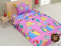 Детский полуторный постельный комплект белья Принцессы Диснея