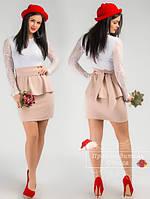 Красивое короткое платье с баской, верх гипюр. Арт-3848/31.