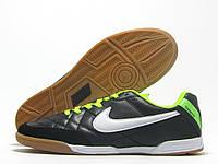 Бампы футзальные мужские Nike Tiempo черные с салатовым  (найк темпо)