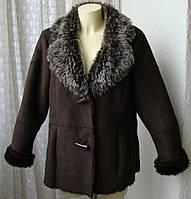 Дубленка женская модная искусственная бренд Evans р.52 4716
