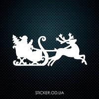 """Наклейка для  новогоднего декора """"Санта на санках"""""""