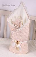 Конверт-одеяло на выписку вязаный теплый на махре. Персик