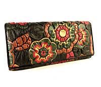 Кожаный кошелек женский Erglanu 164 черный, цветы
