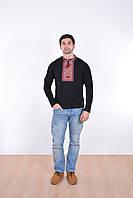 Классическая мужская футболка вышиванка в черном цвете с красным орнаментом