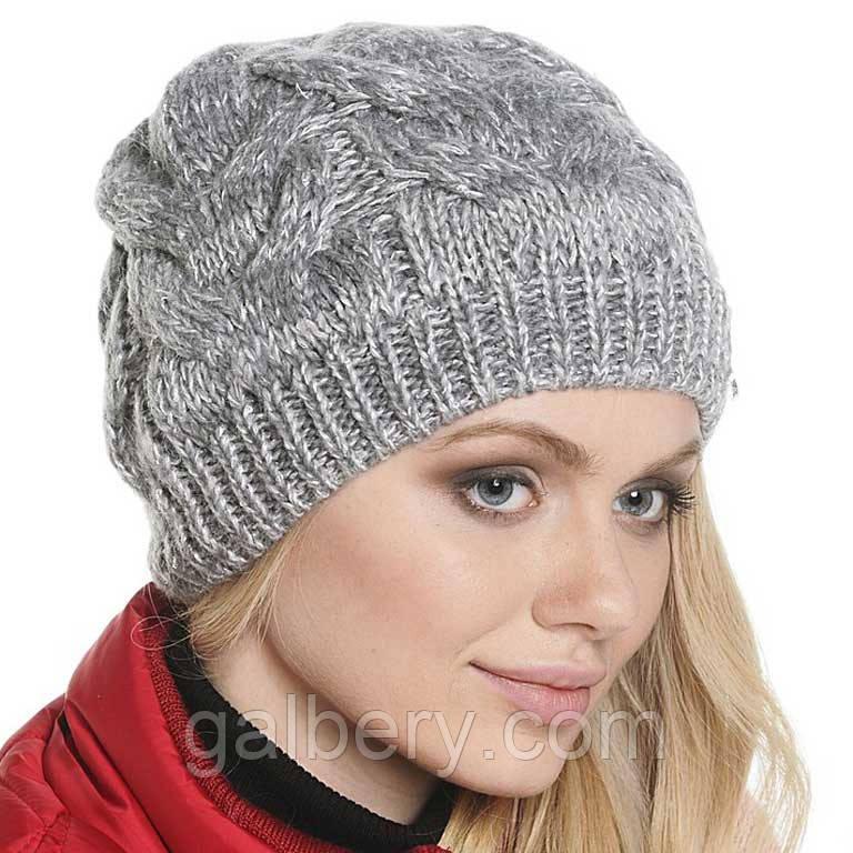 Женская вязаная шапка в стиле ручной работы, объемной ...