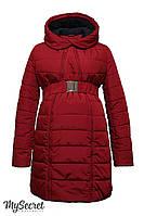 """Очень теплое зимнее пальто/куртка для беременных """"Neva"""", бордовое"""