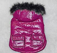 Теплая зимняя куртка для собак, розовая, размер S
