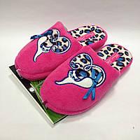 Женские розовые тапочки с кошечкой на леопардовом сердечке, анатомическая подошва, размер 36