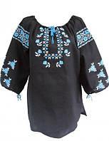 Женская вышиванка черный лён, натуральный