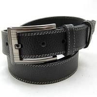 3037 Ремень мужской кожаный джинсовый чёрный