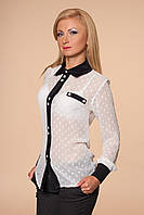 Шифоновая белая женская рубашка с черным воротником и манжетами