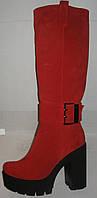Сапоги модные зимние на толстом каблуке натуральная замша красные