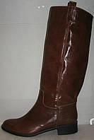 Сапоги стильные зимние женские натуральная кожа коричневые