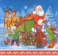 Салфетка декупажная Дед Мороз и дети наряжают ёлку 5465