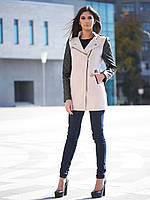 Женское бежевое пальто с кожаными рукавами