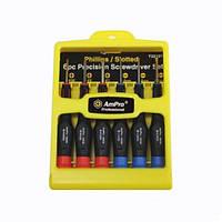 Набор шлицевых и крестовых отверток для микроэлектроники, 6 предметов AmPro T32151