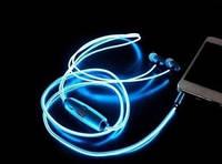 Наушники с LED проводами и микрофоном MDR 619 Blue