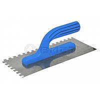 Гладилка нержавіюча з пластмасовою ручкою, 125х270 мм, зуб 12x12 мм, Favorit