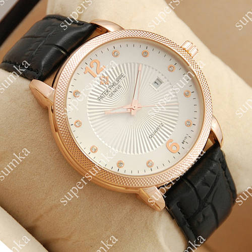 Яркие наручные часы Patek Philippe quartz 8610-1 Pink gold/White 1961