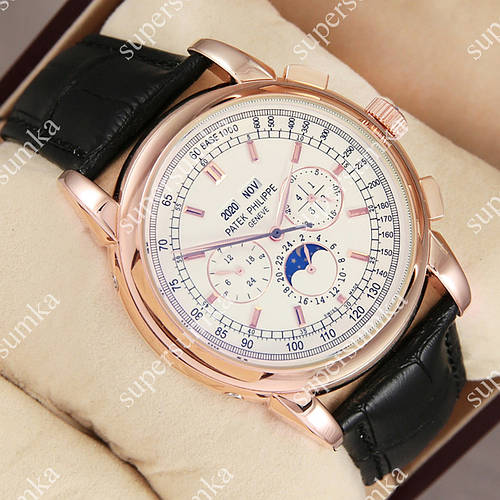 Необычные наручные часы Patek Philippe Geneve Gold/White 1019-0076