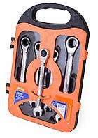 Набор ключей комбинированных с трещёткой (72 зуцба) CRV, 5шт в кейсе Miol 52-250