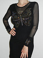 Красивое черное платье со стразами с длинным рукавом трикотаж Fashion House Турция рр. 46-48