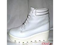 Ботинки женские зимние на тракторной подошве Urban кожаные белые Urb0019