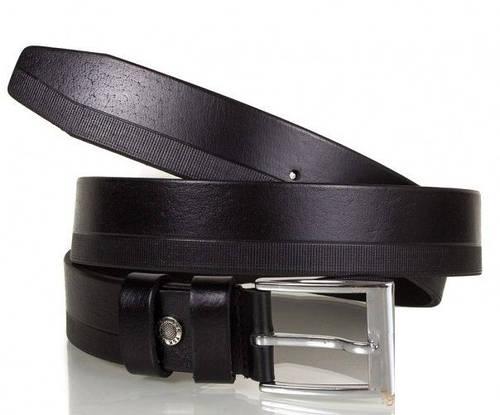 Качественный кожаный ремень мужской SHI3004-2, черный, 120 см.