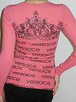 Блузка из трикотажа с вышивкой и принтом Versace белая розовая Treysi Турция рр. М L
