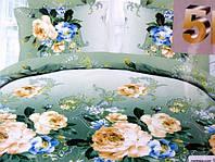 Постельное белье сатиновое двуспальное с цветами 5D