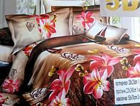 5D Постельное двуспальное белье сатиновое с розовыми цветами